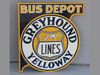 GREYHOUND BUS DEPOT Yelloway Flange Sign