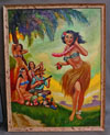 A Hula Girl Serenade Oil on Canvas PINUP PAINTING