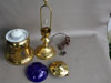 Old L&N Railroad Cast Brass and Cobalt Glass Lamp