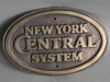 NYC New York Central Railroad Oval Train Brass Sign