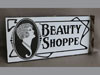 Porcelain flange beauty shop sign
