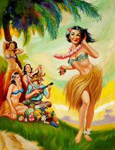 Rogue Hula Girl Pin up for sale by Rognan.